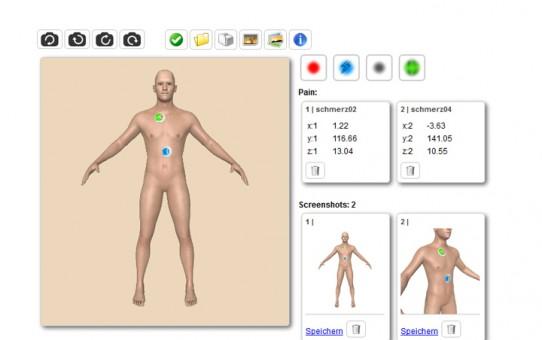 Webanwendung mit 3D-Element, Schmerzpunkten und Screens